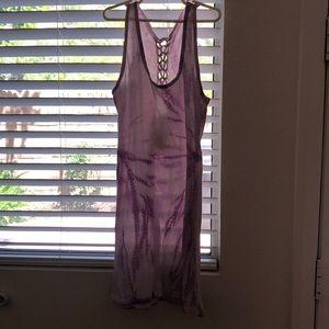 very flowy, light dress. Tie die (white&purple)
